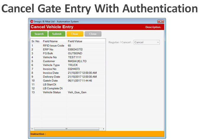 Cancel Vehicle Gate entry